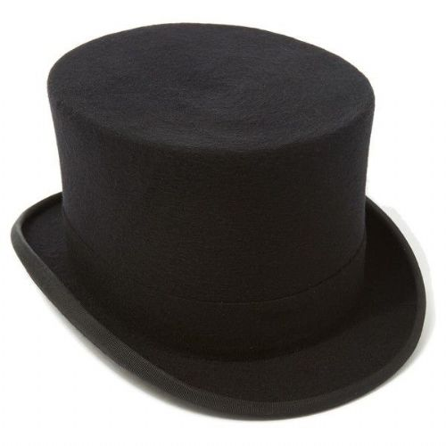 Christys Traditional Black Wool Felt Top Hat - Last few - reduced to clear